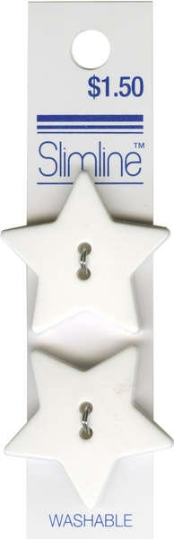 2 Hole Button White Star 1-1/8in 2ct