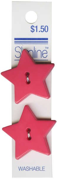 2 Hole Button Pink Star 1-1/8in 2ct