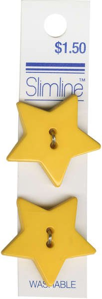 2 Hole Button Yellow Star 1-1/8in 2ct