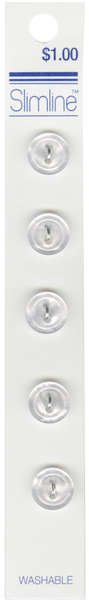 2 Hole Button White 7/16in 5ct