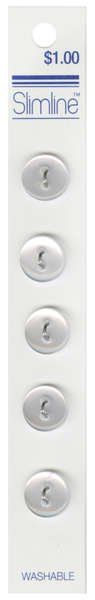 2 Hole Button White 1/2in 5ct