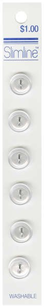 2 Hole Button White 1/2in 6ct