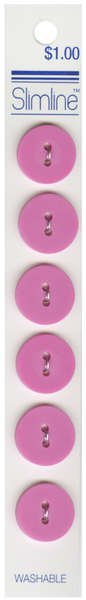 2 Hole Button Pink 5/8in 6ct