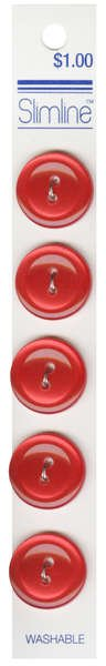 2 Hole Button Red 3/4in 5ct