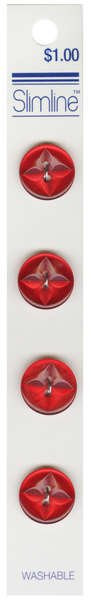 2 Hole Button Red 5/8in 4ct
