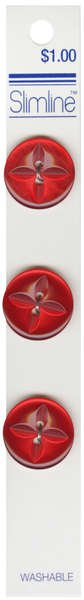 2 Hole Button Red 3/4in 3ct