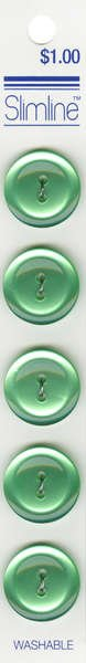 2 Hole Button Light Green 3/4in 5ct