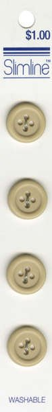 4 Hole Button Beige 5/8in 4ct