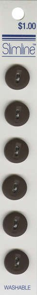 2 Hole Button Dark Brown 1/2in 6ct