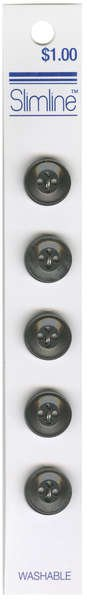 4 Hole Button Charcoal 1/2in 5ct