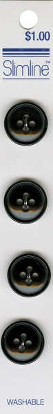 4 Hole Button Black 5/8in 4ct