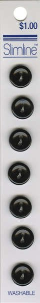 2 Hole Button Black 7/16in 7ct