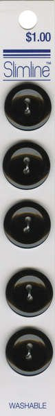 2 Hole Button Black 3/4in 5ct