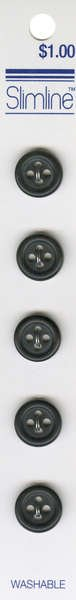 4 Hole Button Black 1/2in 5ct