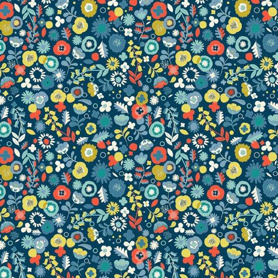 Modern Retro, Ditzy Flower-Blue