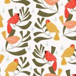 Rae Ritchie, Winter Birds Flannel, White