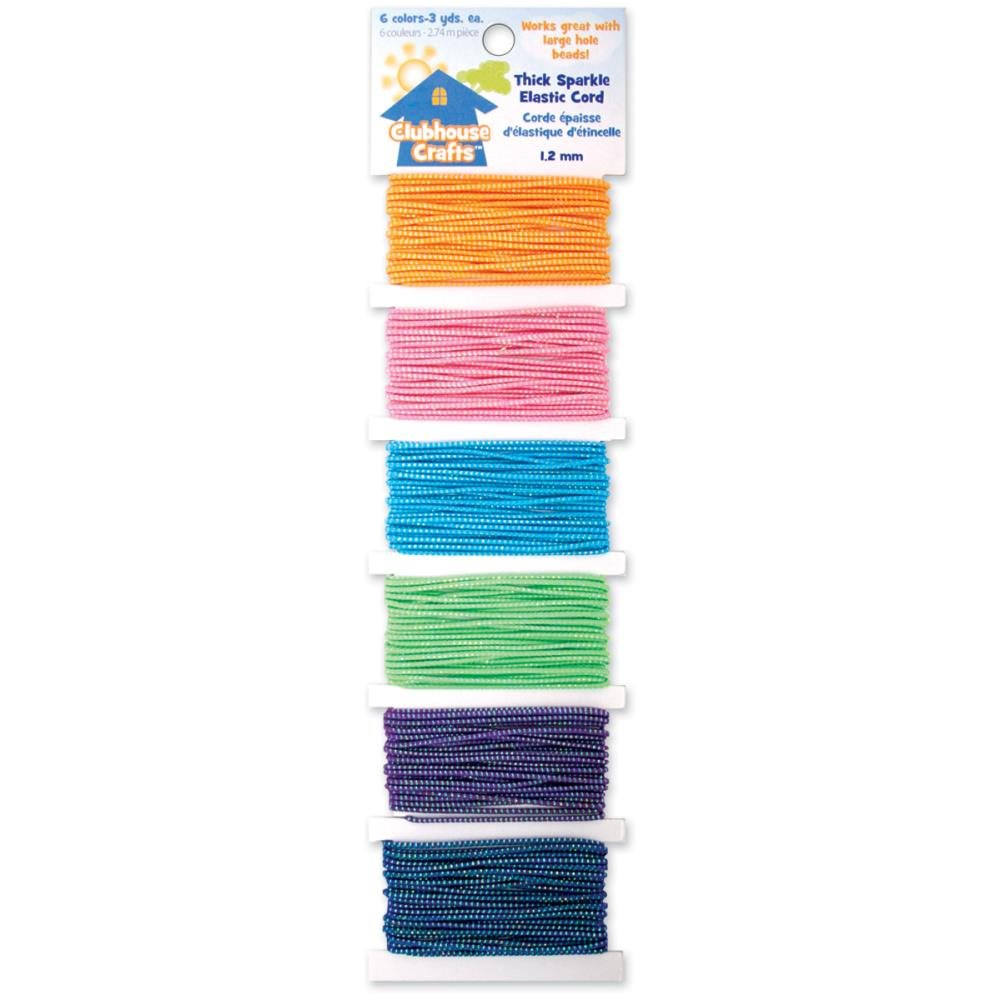Clubhouse Crafts Elastic Cord Thick Sparkle - 3yd Each Of 6 Colors
