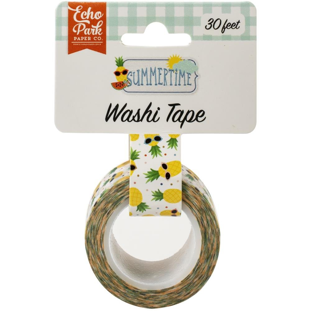 Echo Park Summertime Washi Tape 30'-Cool Pineapples