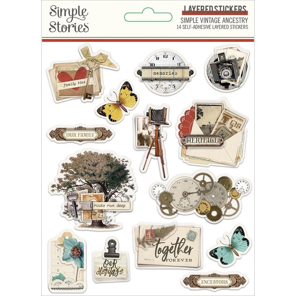Simple Vintage Ancestry Layered Stickers 14/Pkg-