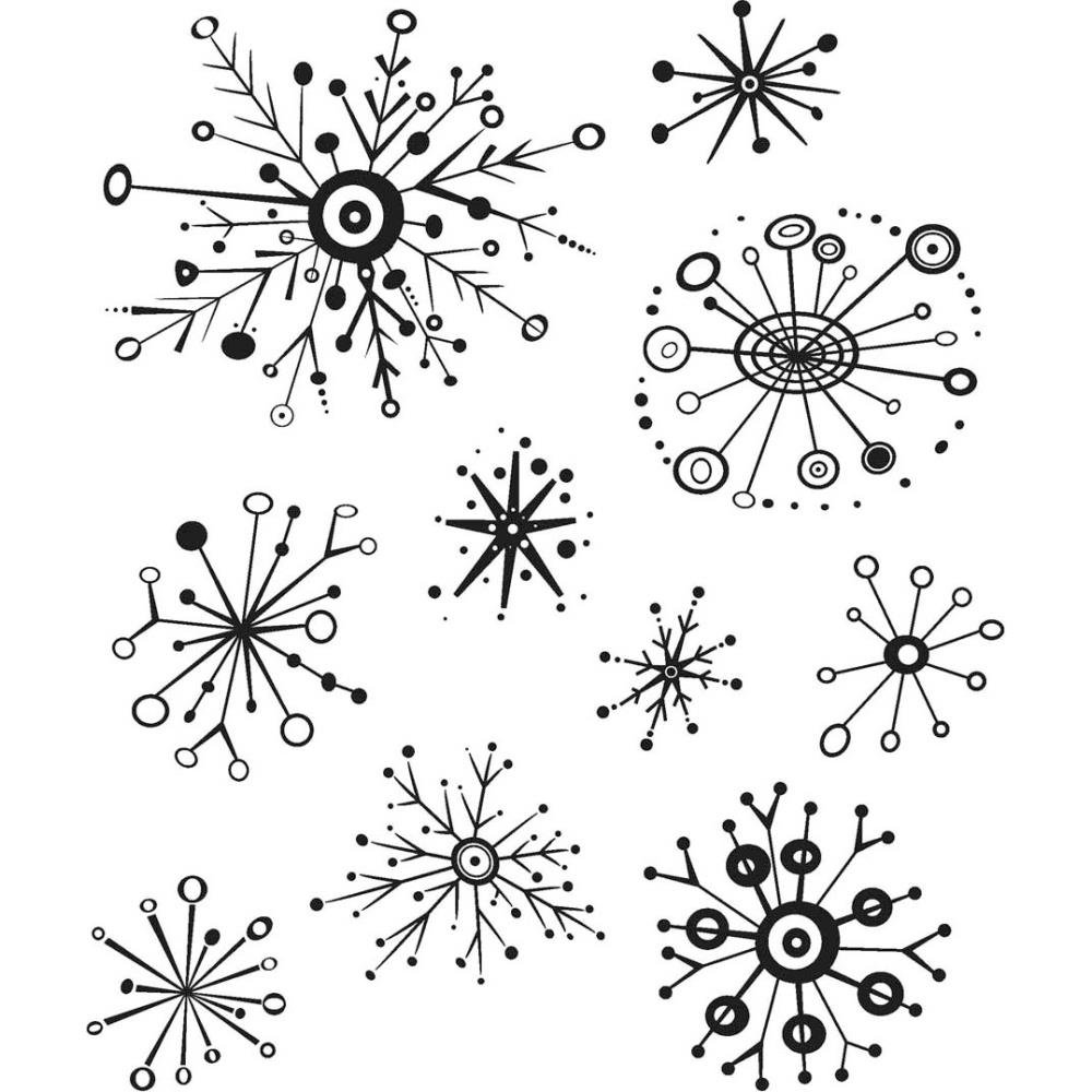 Tim Holtz Cling Mount Stamps: Retro Flakes- PREORDER