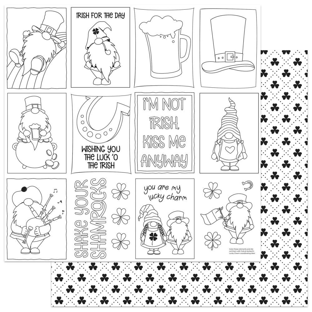 Lucky Charm Color Me   -Tulla & Norbert's Lucky Charm Double-Sided Cardstock 12X12