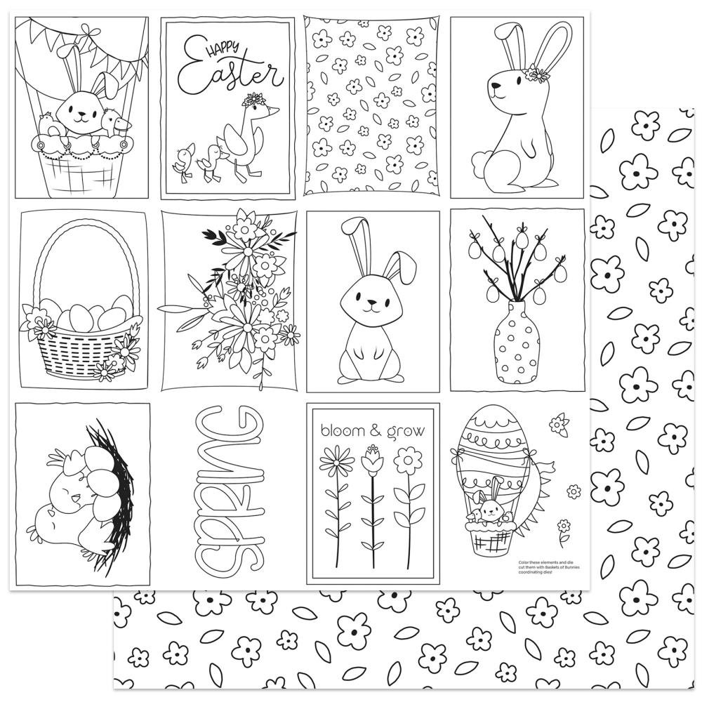 Color Me -Baskets Of Bunnies Double-Sided Cardstock 12X12''