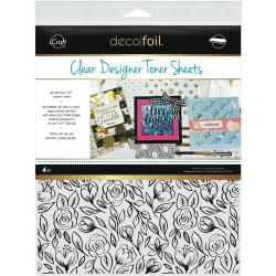 Floral Sketch- Deco Foil Clear Toner Sheets 8.5X11 4/Pkg