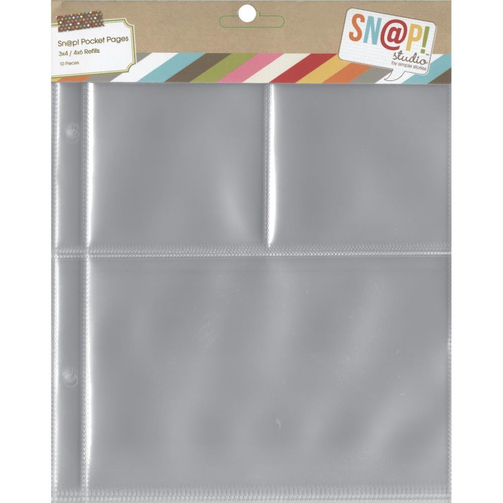 Simple Stories Sn@p! Pocket Pages For 6X8 Binders 10/Pkg-(1) 4X6 & (2) 3X4...
