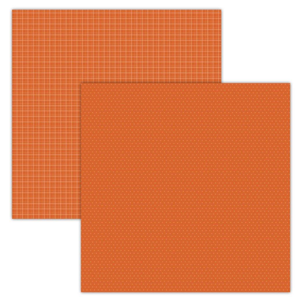 Orange Plaid/Dots 12x12 Foundation Paper