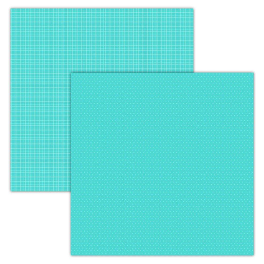 Teal Plaid/Dots 12x12 Foundation Paper