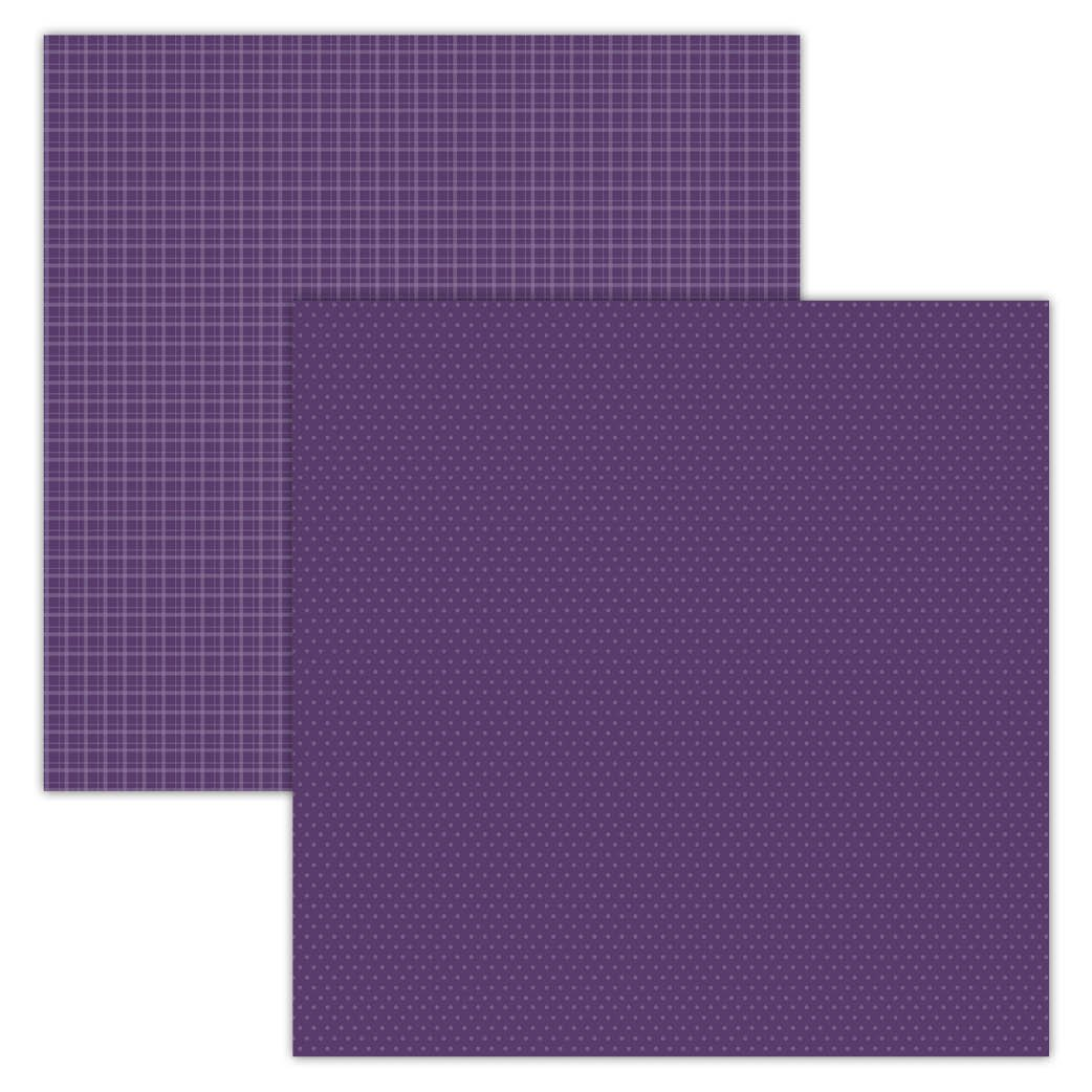 Purple Plaid/Dots 12x12 Foundation Paper