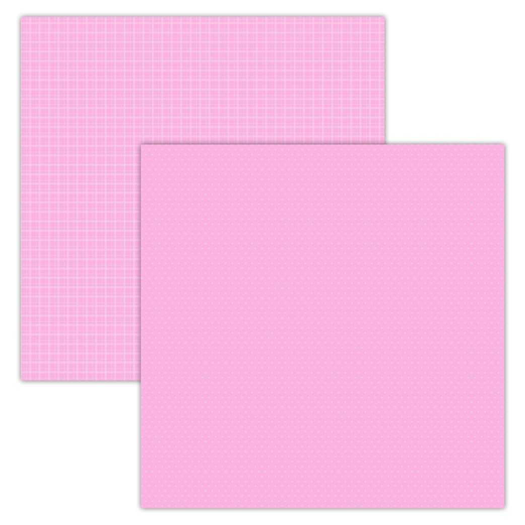 Pink Plaid/Dots 12x12 Foundation Paper