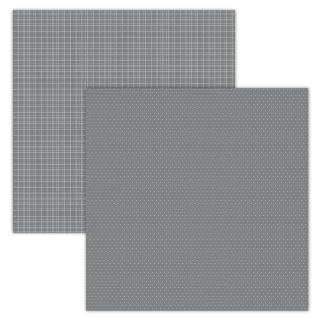 Grey Plaid/Dots 12x12 Foundation Paper