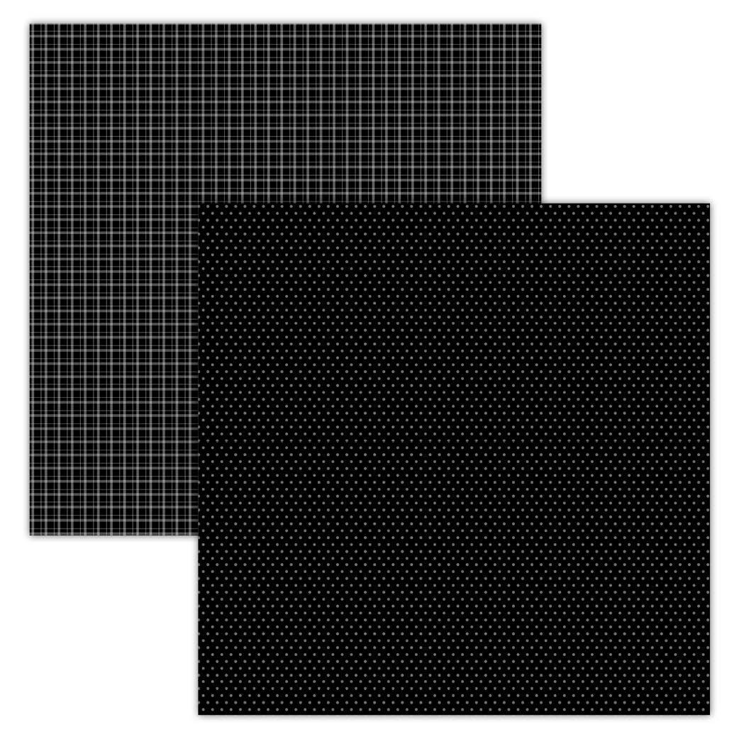 Black Plaid/Dots 12x12 Foundation Paper