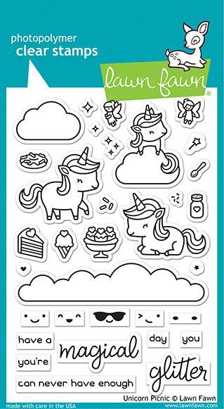 unicorn picnic stamp - Lawn Fawn