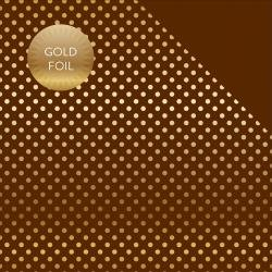 Echo Park Fall Foiled Dot/Stripe Double-Sided Cardstock 12 Brown & Gold Dot