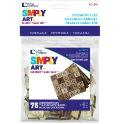Simply Art Wood Letter Tiles 75/Pkg Brown