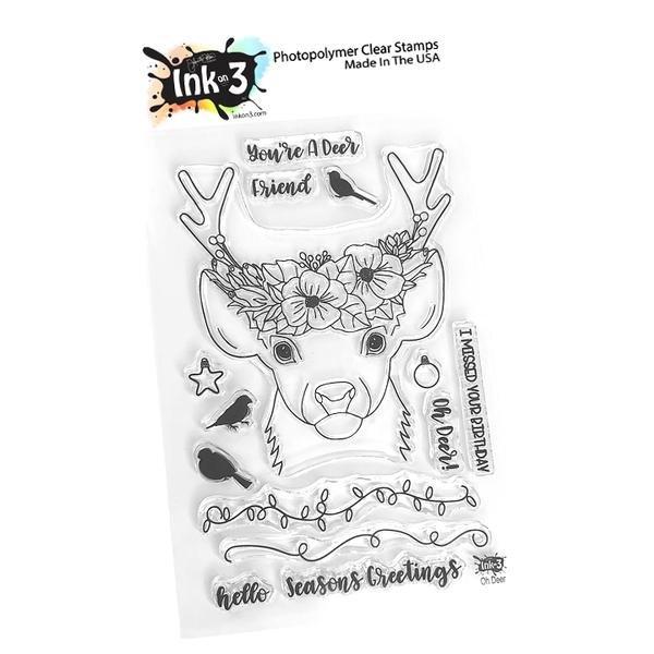 Oh Deer 4x6 Stamp set - Ink on 3