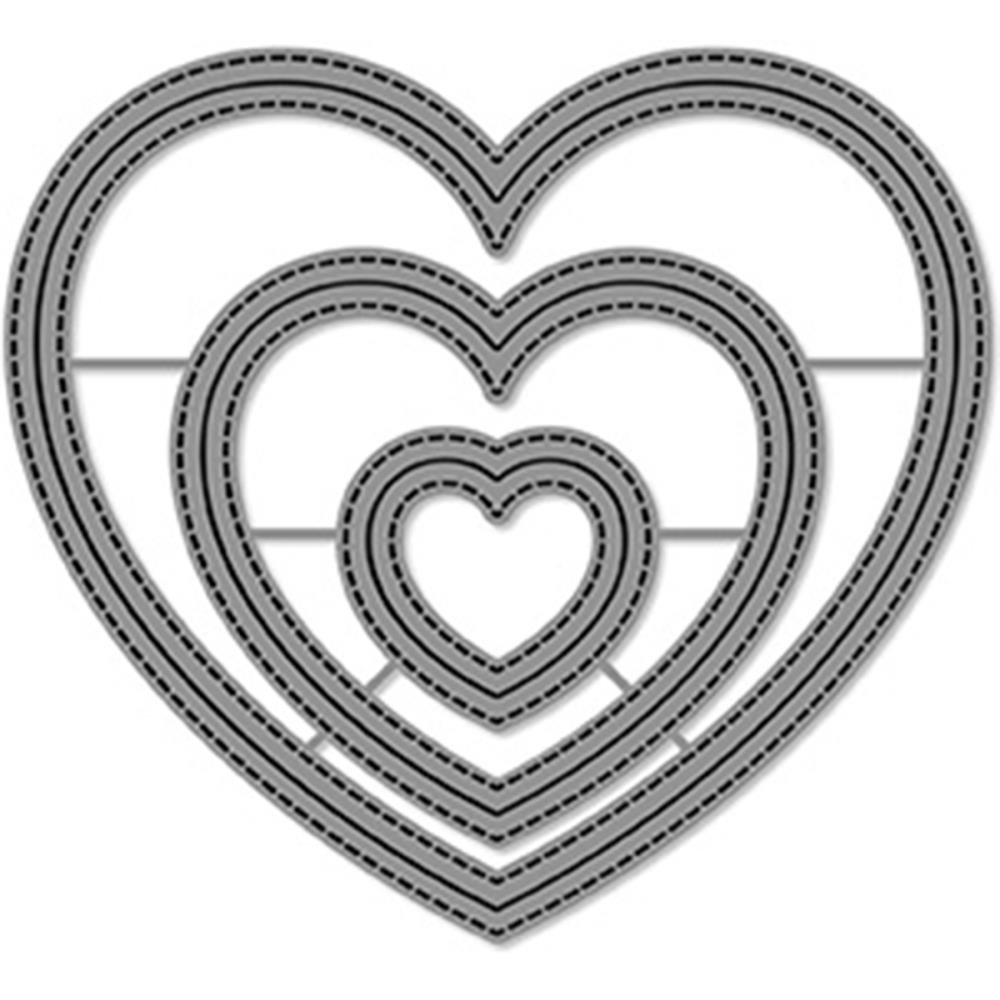 Lawn Fawn Die- Outside In Stitched Heart Stackables