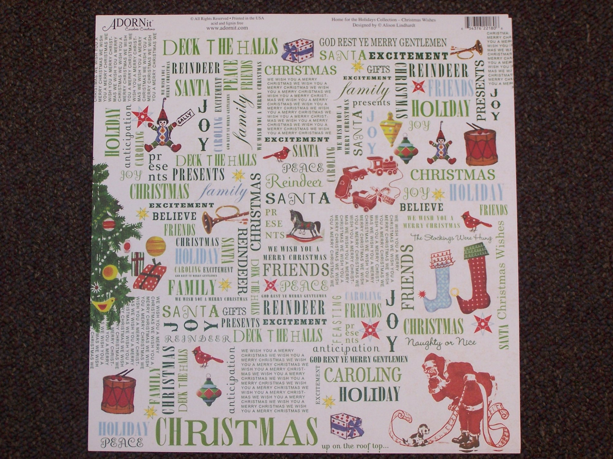 Christmas Wishes- Holly Jolly 12X12 Adorn It Paper