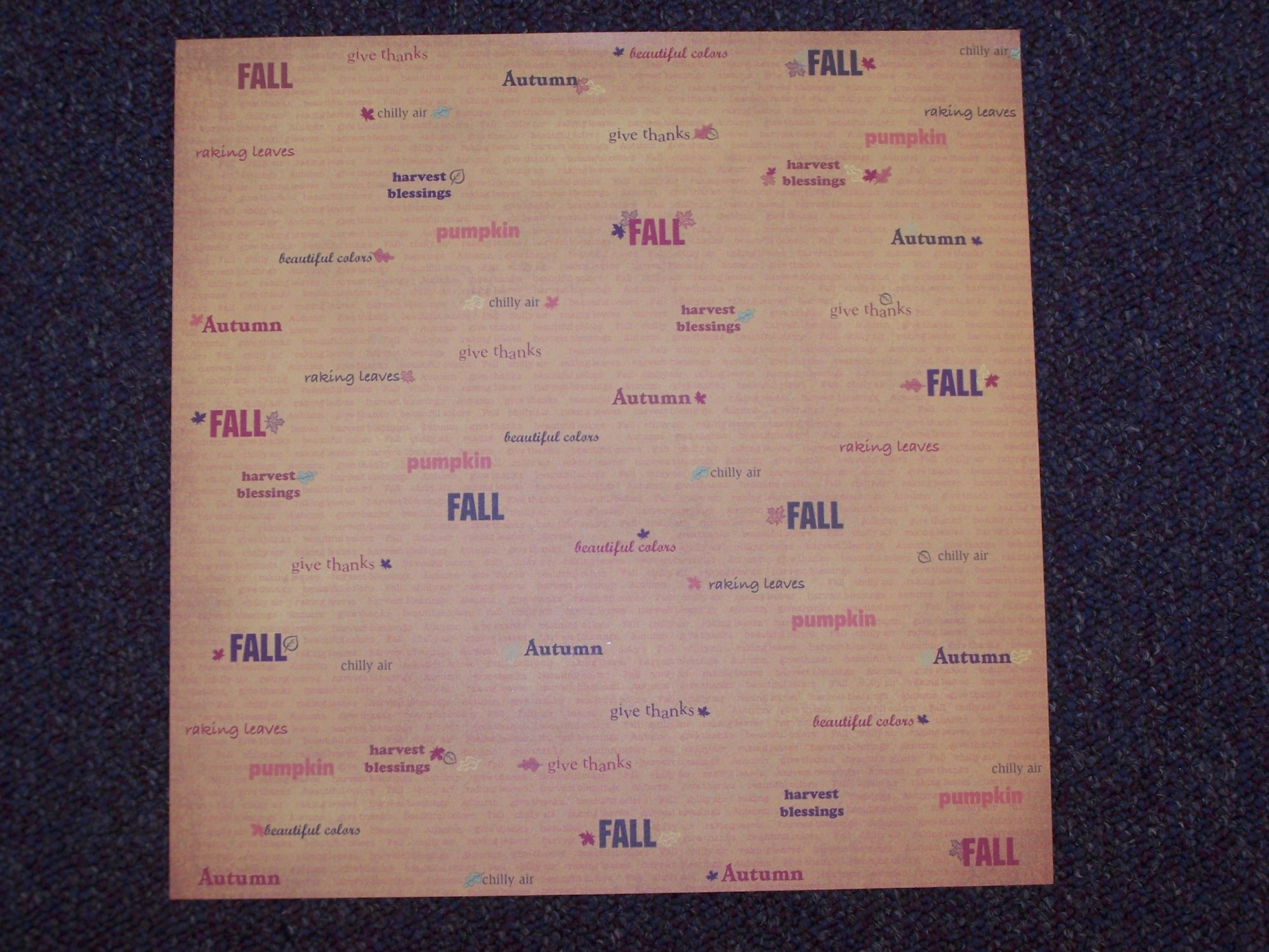 Fall Leaves Words- Fall Collection 12X12 Adorn It Paper