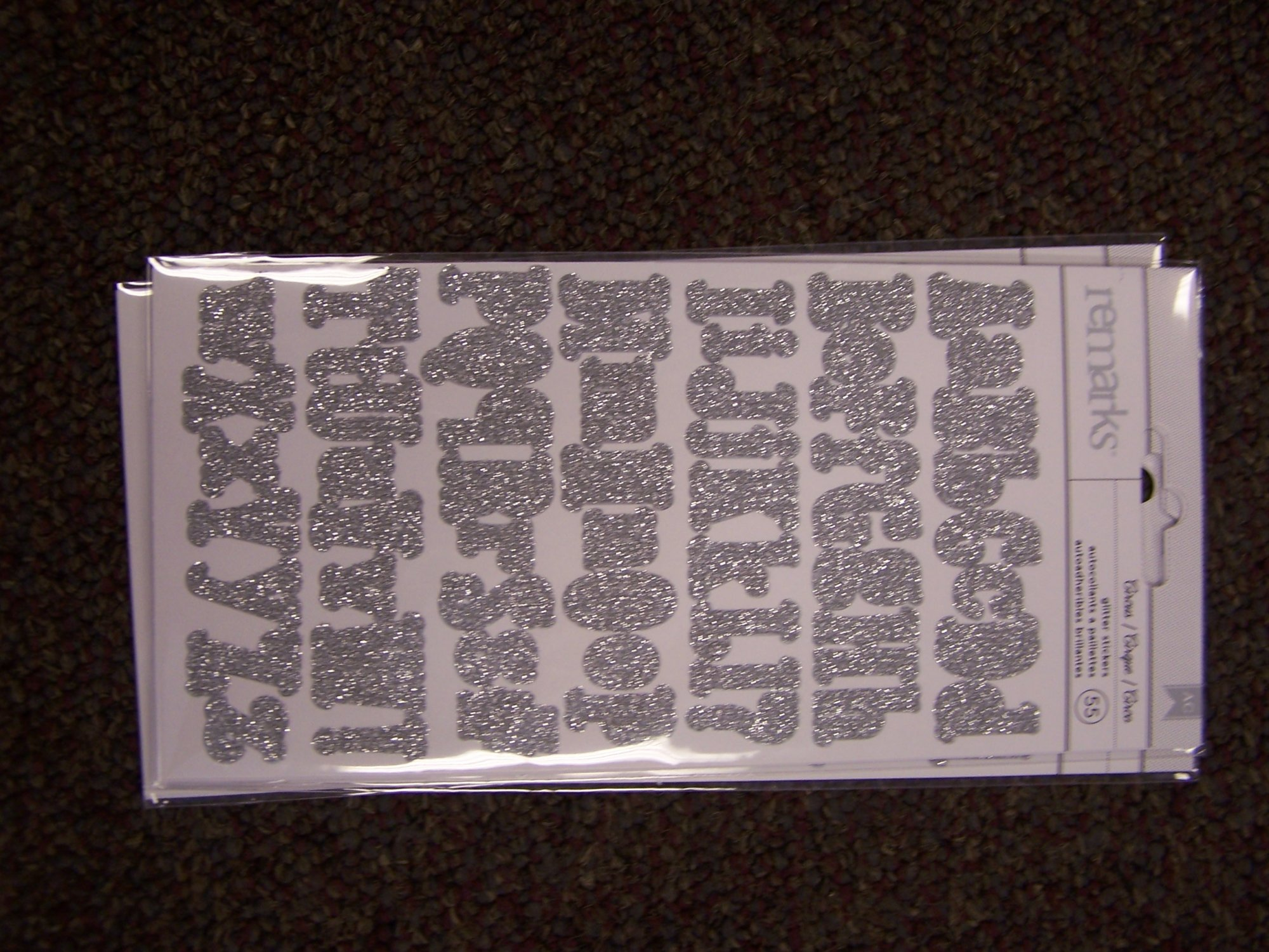American Crafts Remarks Alphabet Stickers- Circus Silver Glitter