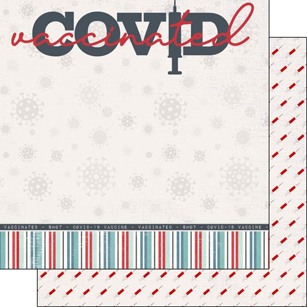 Scrapbook Customs - 12 x 12 Double Sided Paper - Covid-19 Vaccinated