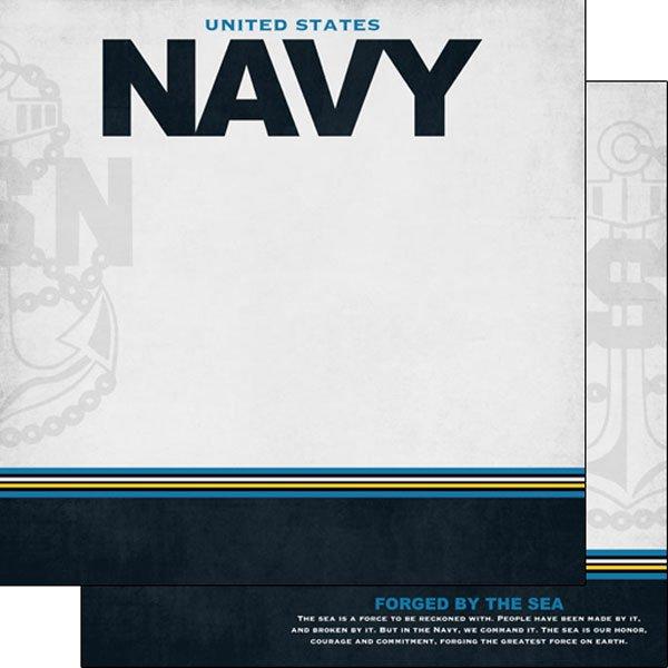 Navy Border Stripe Paper- Scrapbook Customs