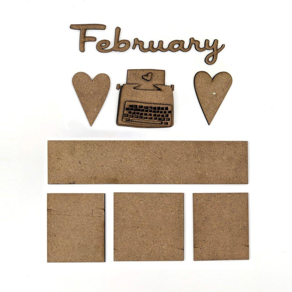 Foundations Decor - Monthly Kit for Magnetic Calendar Frame - February