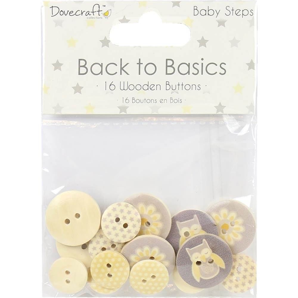 Dovecraft Back To Basics Wooden Buttons 16/Pkg