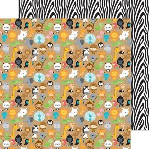 Doodlebug zoo friends double- sided cardstock