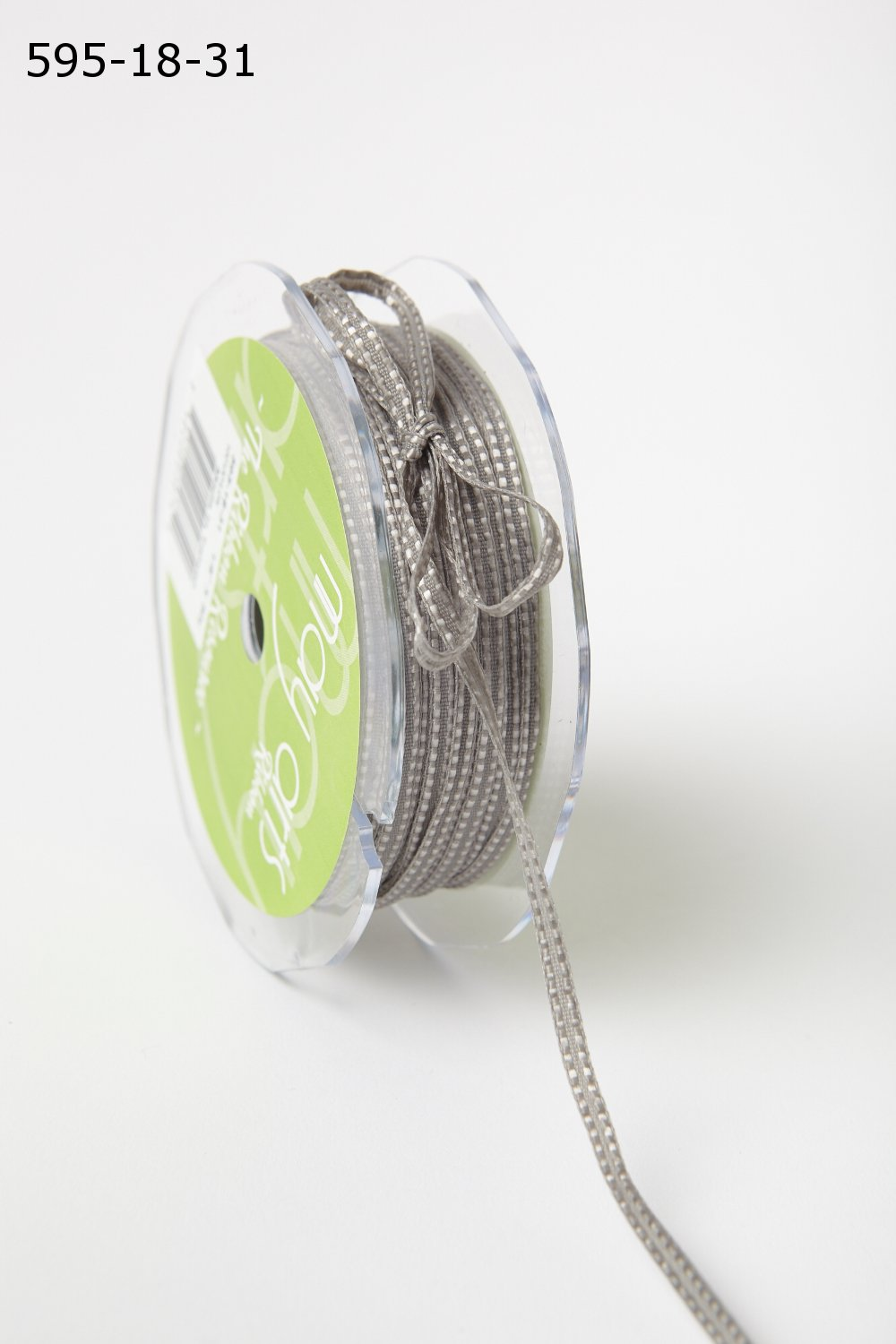 Grey 1/8 Inch Solid Double Stitched Ribbon with Woven Edge
