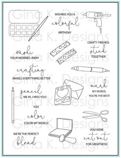 Crafty Notes Stamp Set- Gina K