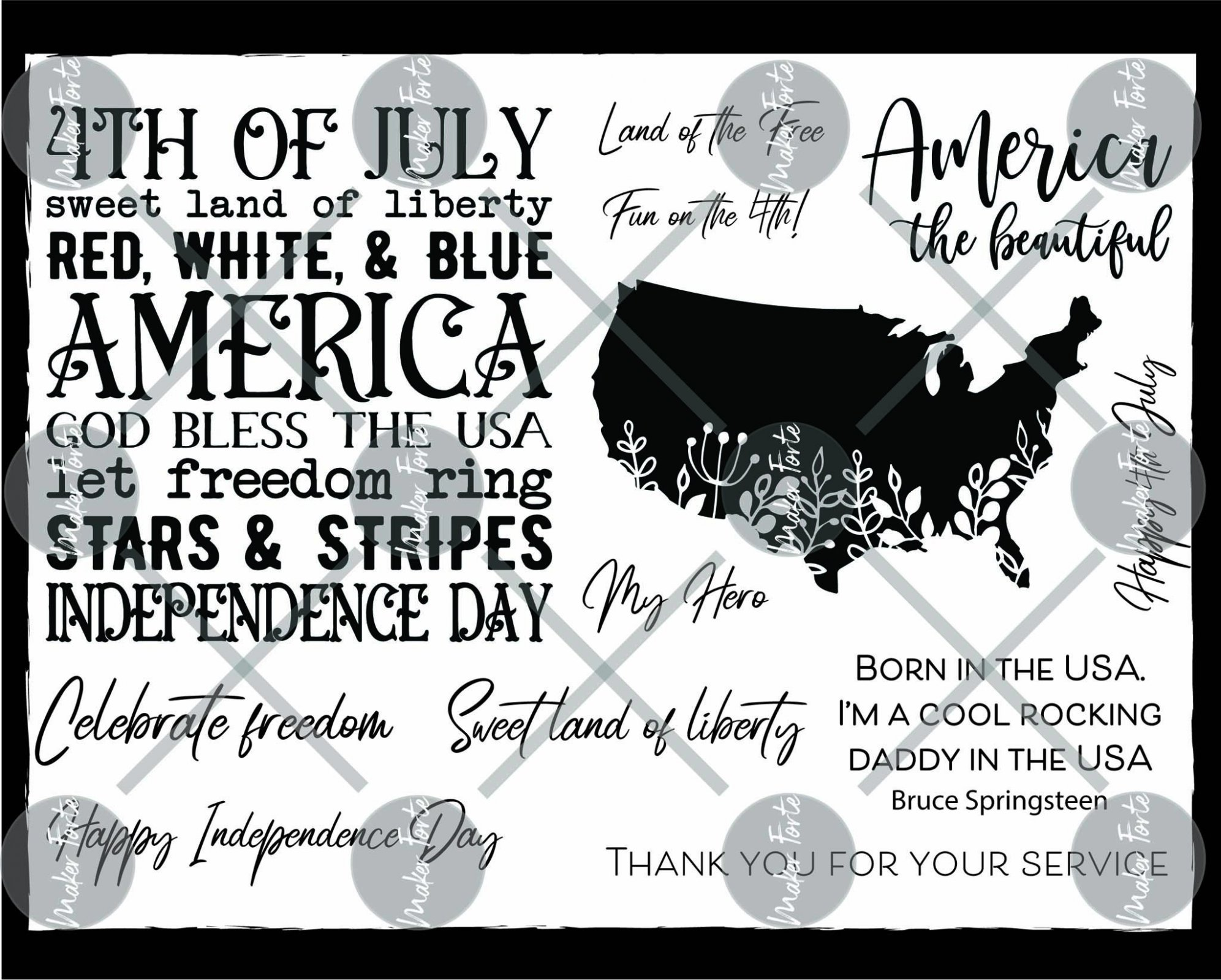 Maker Forte Clear Stamps 6X8-America The Beautiful